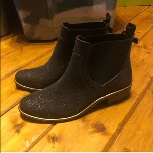 EUC Kate Spade black glitter rain booties
